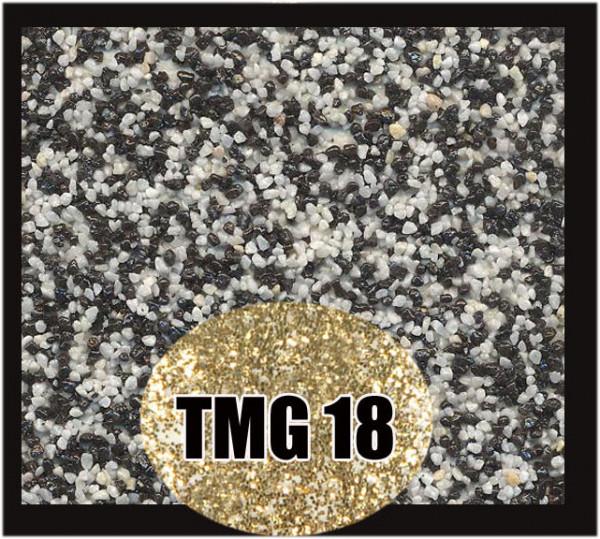 Buntsteinputz 7,5 kg Schwarz-Weiß-Gold Glitzer TMG18