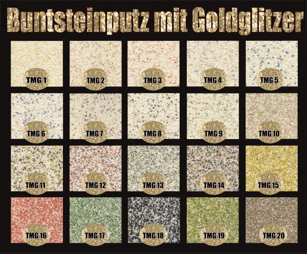 Buntsteinputz Farbgruppe 1 (div. Farben) mit Gold Glitzer 15 kg