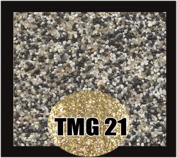 Buntsteinputz 7,5 kg Schwarz-Quarz-Weiß-Gold Glitzer TMG21