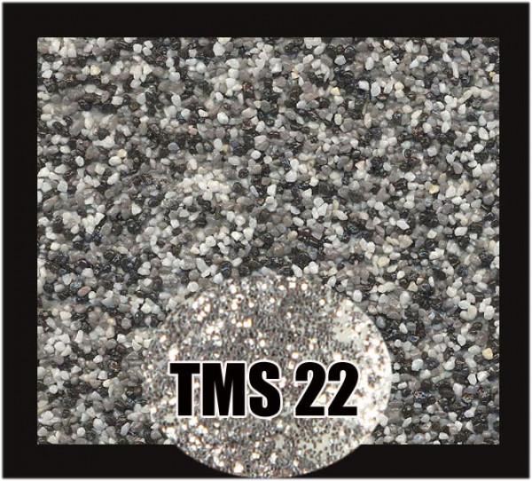 Buntsteinputz 7,5 kg Weiß-Grau-Schwarz-SilberGlitzer TMS22