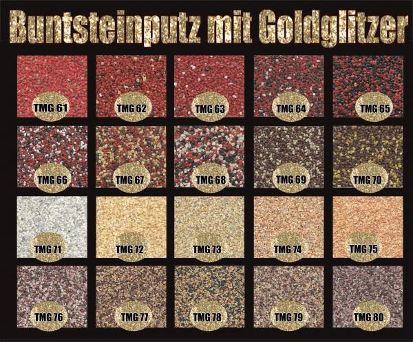 Buntsteinputz Farbgruppe 2 (div. Farben) mit Gold Glitzer 15 kg